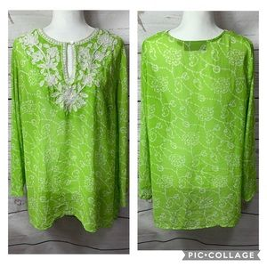 Susan Graver Lime Floral Embroidered Lace Tunic